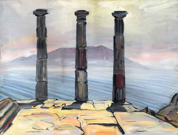 temple at Assos, looking across to Lesbos; painting by Guy Ottewell